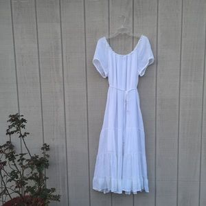 Mlle Gabrielle fluttery white tiered maxi dress, M